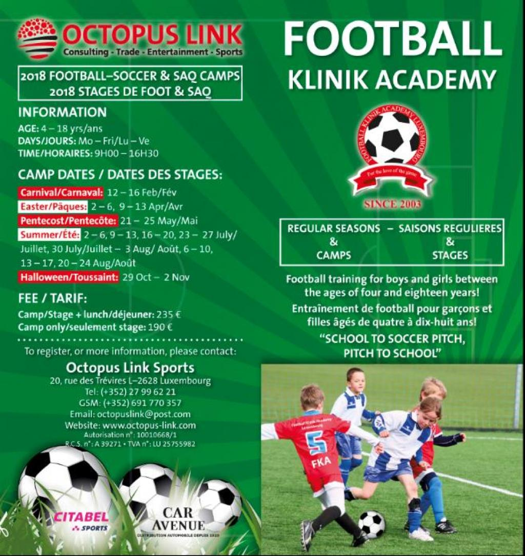 FOOTBALL-SOCCER SUMMER CAMPS 4-18 YEARS JUL-AUG